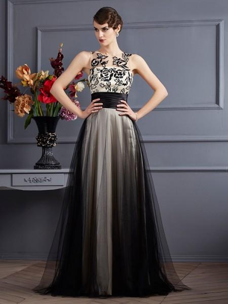 A-Line/Princess Scoop Sleeveless Long Net Dresses