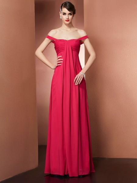 A-Line/Princess Off the Shoulder Sleeveless Beading Long Chiffon Dresses