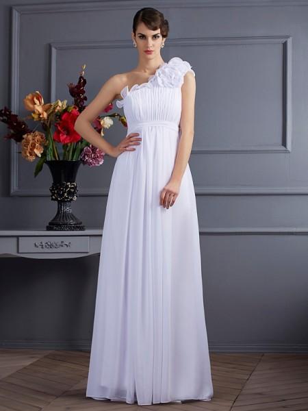 A-Line/Princess One-Shoulder Sleeveless Pleats Applique Long Chiffon Dresses
