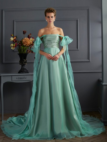 A-Line/Princess Off the Shoulder Sleeveless Long Taffeta Dresses