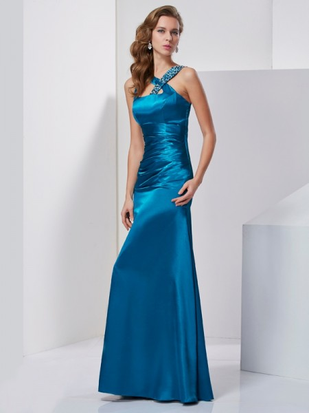 Sheath/Column Straps Sleeveless Beading Long Silk like Satin Dresses
