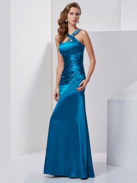 Sheath/Column Straps Sleeveless Beading Long Silk like Satin Dresses