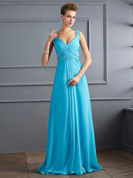 A-Line/Princess Straps Sleeveless Pleats Long Chiffon Dresses