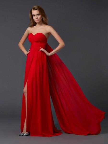 A-Line/Princess Sweetheart Sleeveless Pleats Long Chiffon Dresses