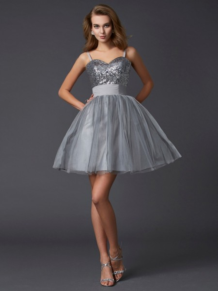 A-Line/Princess Spaghetti Straps Sleeveless Short Organza Homecoming Dresses