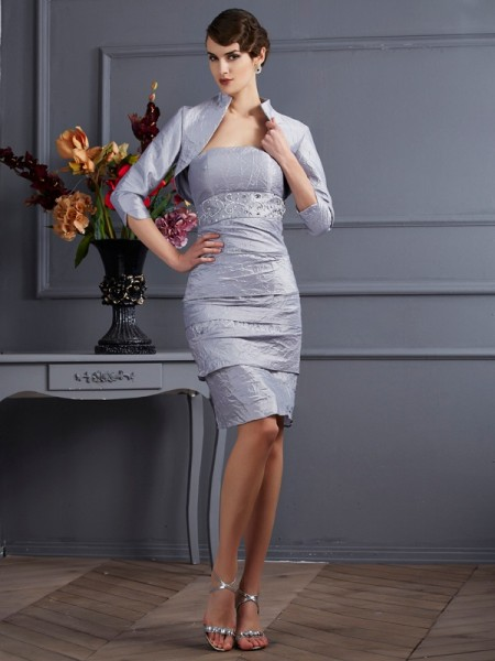Sheath/Column Strapless Sleeveless Short Taffeta Mother of the Bride Dresses