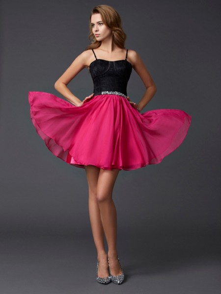 A-Line/Princess Spaghetti Straps Sleeveless Short Chiffon Homecoming Dresses