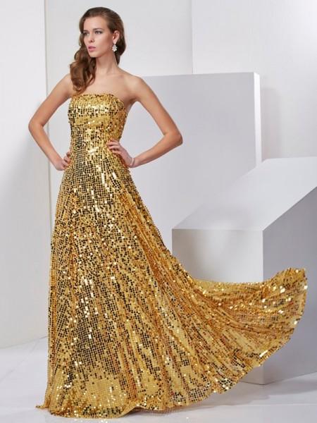 A-Line/Princess Strapless Sleeveless Sash/Ribbon/Belt Long Satin Dresses