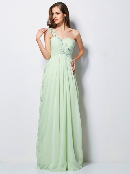 A-Line/Princess One-Shoulder Sleeveless Applique Long Chiffon Dresses