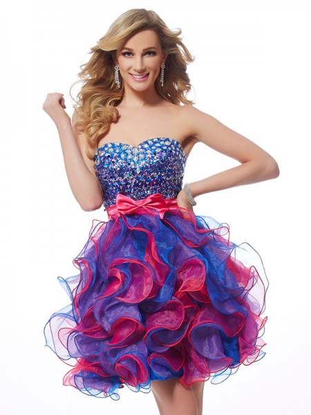 A-Line/Princess Sweetheart Sleeveless Sequin Short Organza Homecoming Dresses