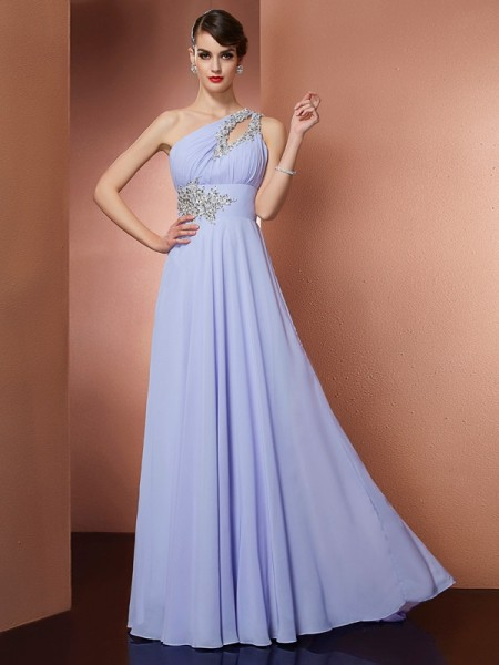 A-Line/Princess One-Shoulder Sleeveless Applique Beading Long Chiffon Dresses