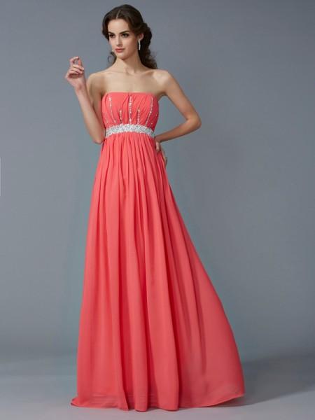 A-Line/Princess Strapless Sleeveless Beading Long Chiffon Dresses