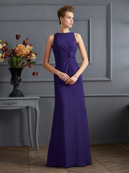 Sheath/Column Bateau Sleeveless Pleats Long Chiffon Dresses