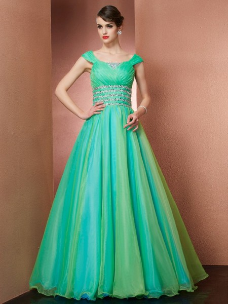 Ball Gown Off the Shoulder Sleeveless Beading Long Satin Quinceanera Dresses