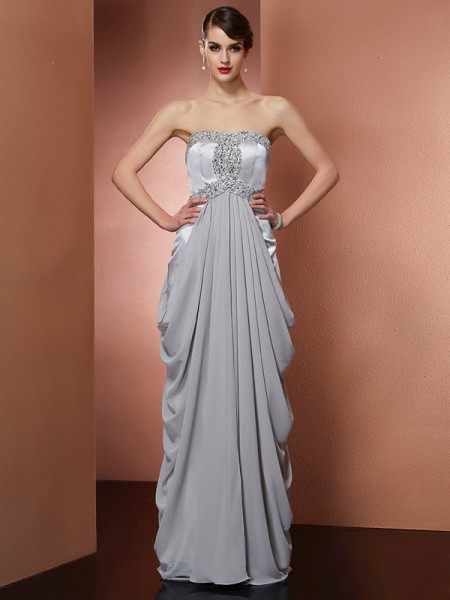 Sheath/Column Strapless Sleeveless Beading Long Chiffon Dresses