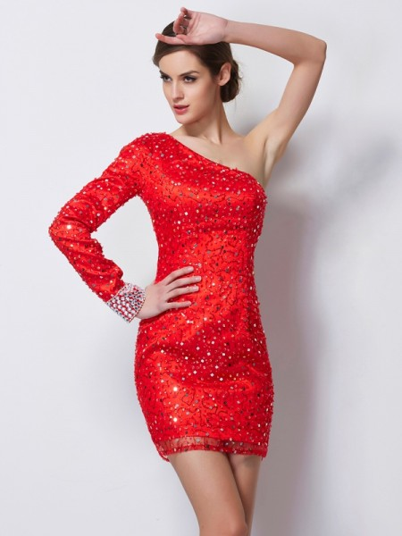 Sheath/Column One-Shoulder Long Sleeves Beading Short Elastic Woven Satin Homecoming Dresses