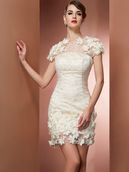 Sheath/Column High Neck Short Sleeves Short Satin Homecoming Dresses