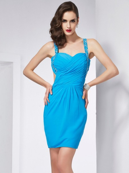 Sheath/Column Spaghetti Straps Sleeveless Beading Short Chiffon Homecoming Dresses