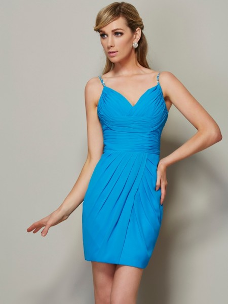Sheath/Column Spaghetti Straps Sleeveless Beading Short Chiffon Homecoming Dresses