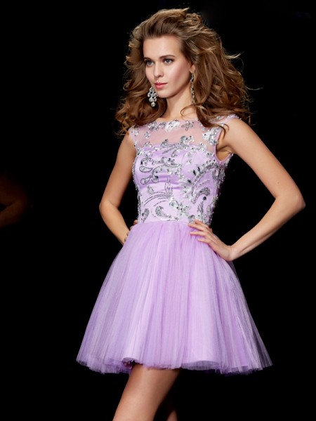 A-Line/Princess Bateau Short Sleeves Beading Short Satin Homecoming Dresses