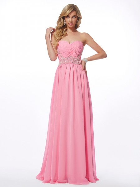 A-Line/Princess Sweetheart Sleeveless Applique Long Chiffon Dresses