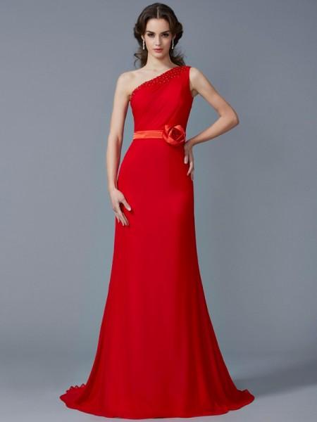 A-Line/Princess One-Shoulder Sleeveless Beading Long Chiffon Dresses