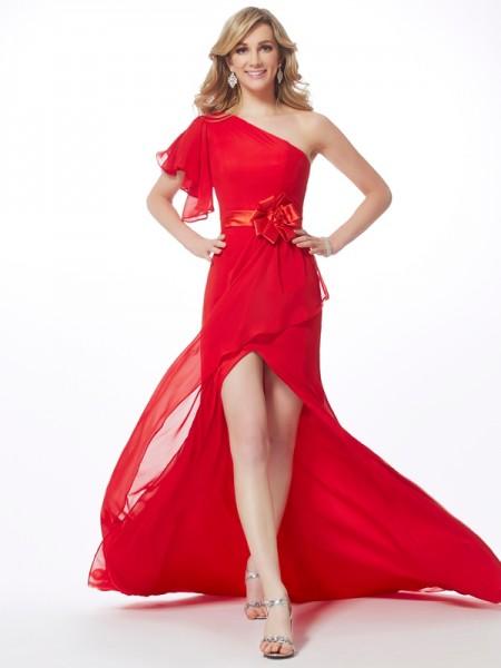 Trumpet/Mermaid One-Shoulder Sleeveless Hand-Made Flower Long Chiffon Dresses