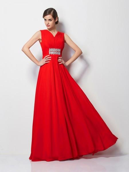 Sheath/Column V-neck Short Sleeves Beading Long Chiffon Dresses