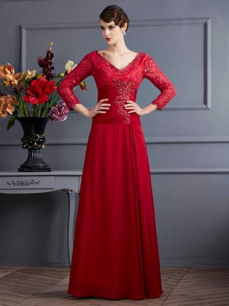 Sheath/Column V-neck 3/4 Sleeves Lace Long Chiffon Dresses