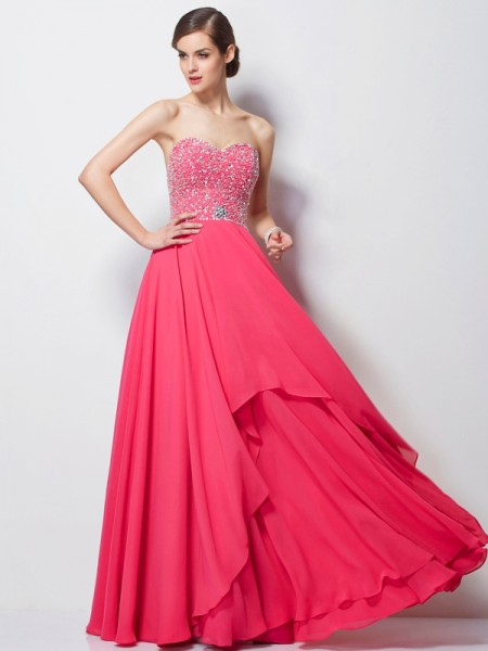A-Line/Princess Sweetheart Sleeveless Beading Long Chiffon Dresses