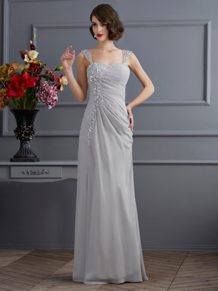 Trumpet/Mermaid Straps Sleeveless Beading Long Chiffon Dresses