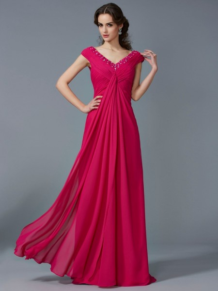 A-Line/Princess Beading V-neck Short Sleeves Long Chiffon Dresses