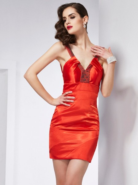 Sheath/Column V-neck Sleeveless Beading Short Elastic Woven Satin Homecoming Dresses