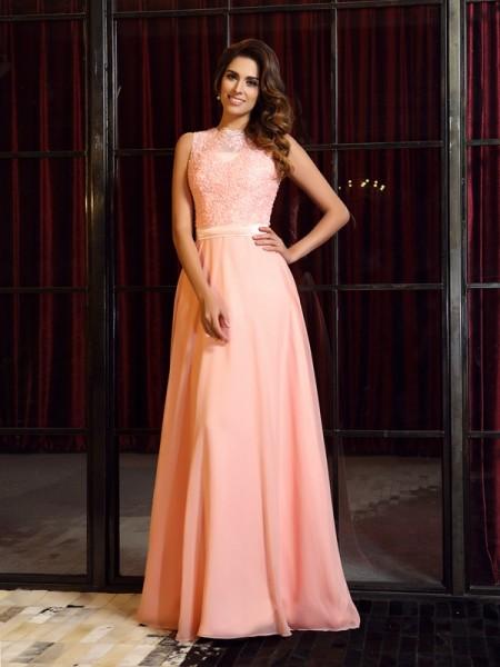 A-Line/Princess High Neck Applique Sleeveless Long Chiffon Dresses