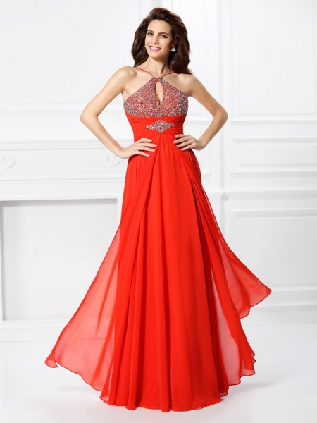 A-Line/Princess Beading Sleeveless Long Chiffon Dresses