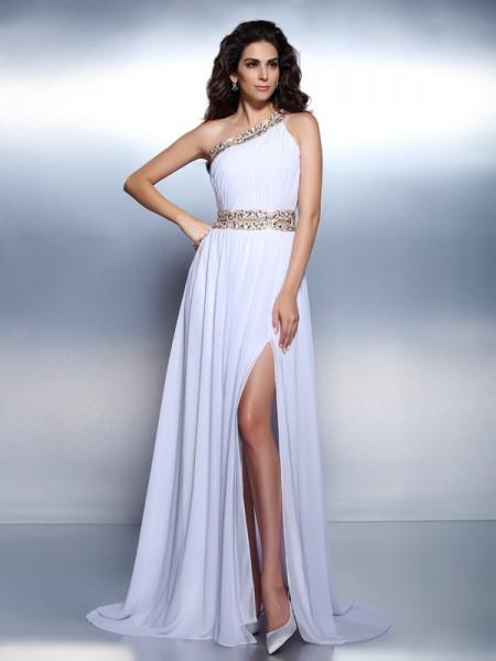 A-Line/Princess One-Shoulder Beading Sleeveless Long Chiffon Dresses
