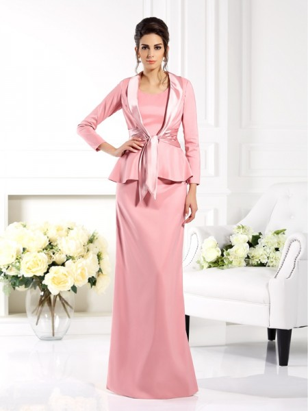 Sheath/Column Square Sleeveless Long Elastic Woven Satin Mother of the Bride Dresses