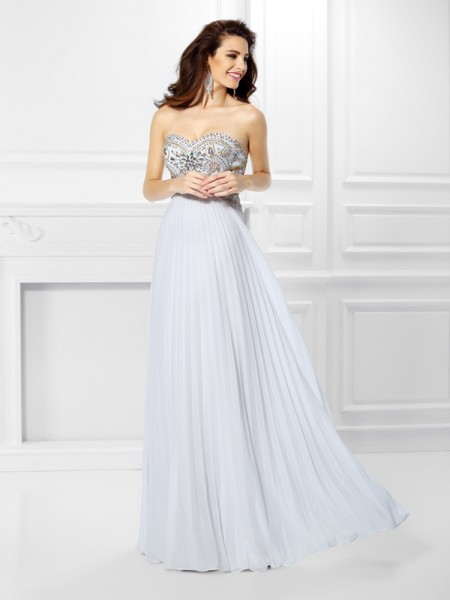Empire Sweetheart Beading Sleeveless Long Chiffon Dresses