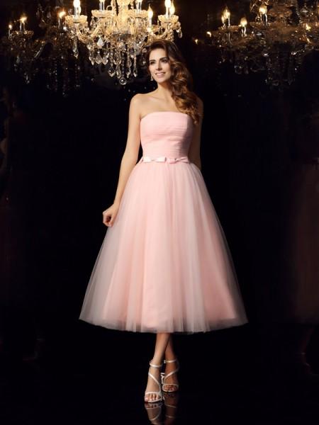 Ball Gown Strapless Sash/Ribbon/Belt Sleeveless Short Satin Quinceanera Dresses