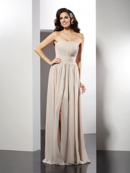 Sheath/Column Strapless Pleats Sleeveless Long Chiffon Dresses