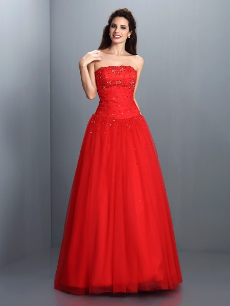 Ball Gown Strapless Beading Sleeveless Long Organza Quinceanera Dresses