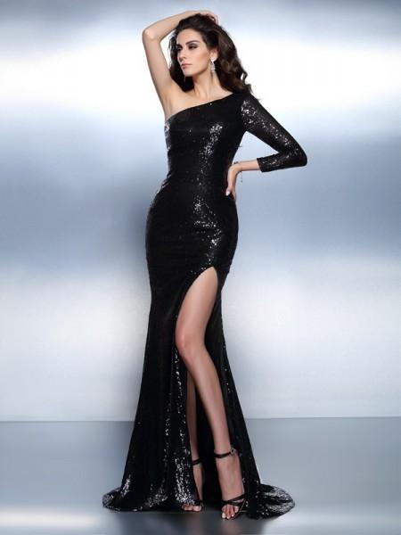 Trumpet/Mermaid One-Shoulder Paillette Long Sleeves Long Lace Dresses
