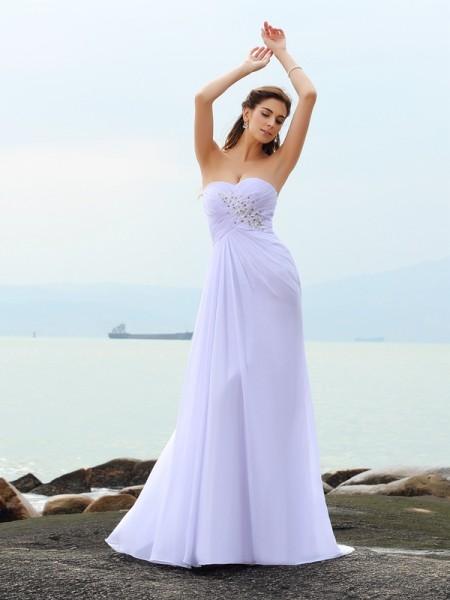 Sheath/Column Sweetheart Beading Sleeveless Long Chiffon Beach Wedding Dresses