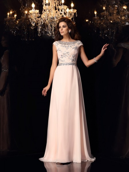 A-Line/Princess Bateau Beading Short Sleeves Long Chiffon Dresses