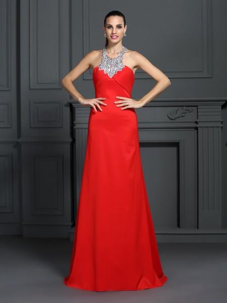 A-Line/Princess High Neck Beading Sleeveless Long Elastic Woven Satin Dresses
