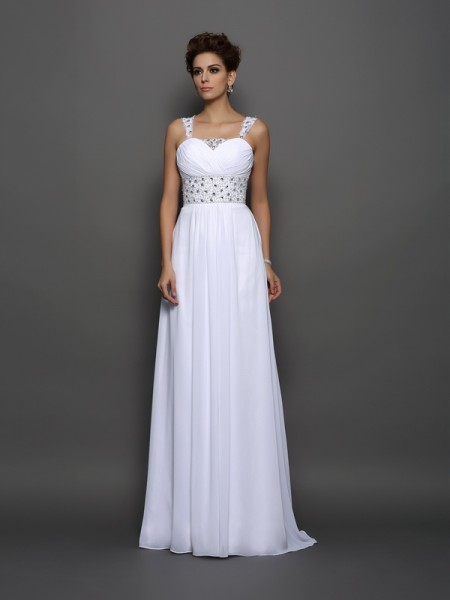 A-Line/Princess Straps Beading Sleeveless Long Chiffon Wedding Dresses
