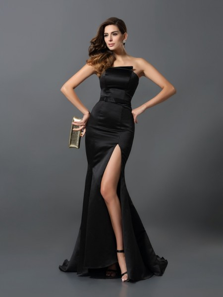 Sheath/Column Strapless Sash/Ribbon/Belt Sleeveless Long Satin Dresses