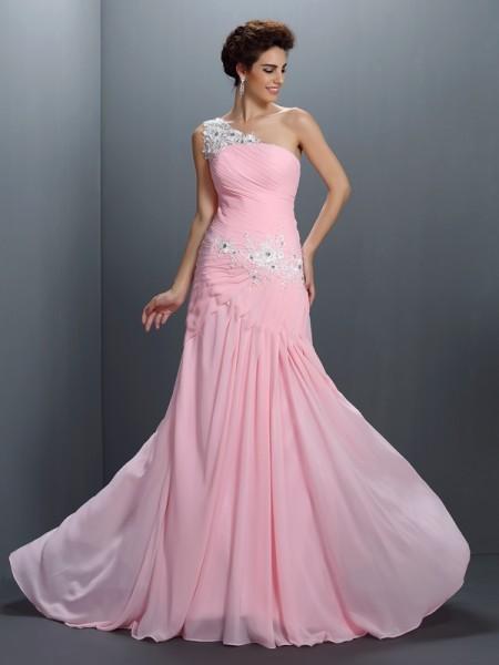A-Line/Princess One-Shoulder Beading Sleeveless Applique Long Chiffon Dresses