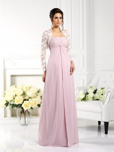 A-Line/Princess Strapless Lace Sleeveless Long Chiffon Mother of the Bride Dresses