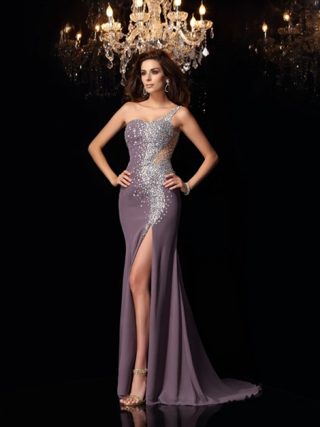 Trumpet/Mermaid One-Shoulder Rhinestone Sleeveless Long Chiffon Dresses
